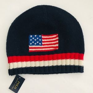 Polo Ralph Lauren USA Flag Beanie Navy Red Striped